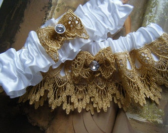 White Satin with Gold Venice Lace Garter Set