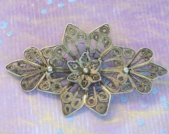 Antique Silver Filligree Scrollwork Flower Brooch Pin