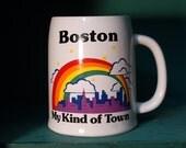 """Large Vintage Boston 'Its my Kind of Town"""" Rainbow Mug"""