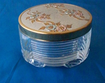 Hollywood Regency Vanity Jar Compact Jar Dresser Jar Metal Lid Fancy Floral Scroll