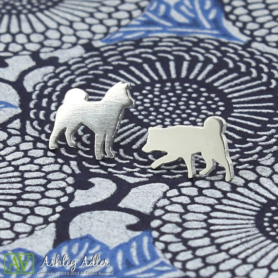 Sterling Silver Shiba Inu Dog Post Earrings