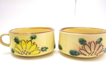 SALE 1970's Vintage Retro Flowered  Mugs