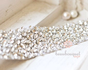 Stunning Crystal For Bridal Sash Rhinestone Bridal Beaded Crystal Rhinestone Applique