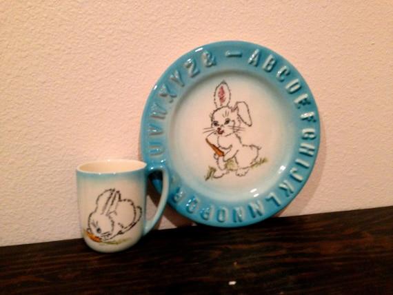 3D Bunny Rabbit Alphabet Childs PLATE and MUG set blue edging