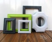 Painted Frame Set of 5 Lime Green Gray White Upcycled Ornate Vintage Gallery Wall Frame Set