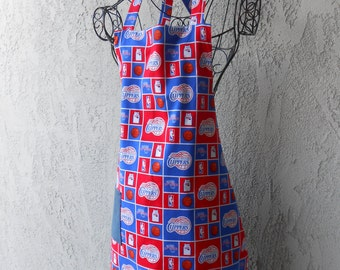 The Clippers red and blue  reversible to denim color apron great for tailgating or barbequing
