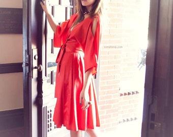 Two Piece Orange Pleated Skirt Dress