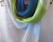 Linen Scarf Shawl Wrap Stole Blue Azure Green Salad Multicolored, Light, Transparent - Initasworks