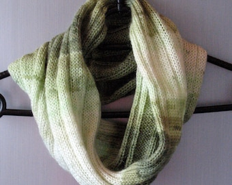 Infinity Scarf Cowl Wrap White Moss Green Striped
