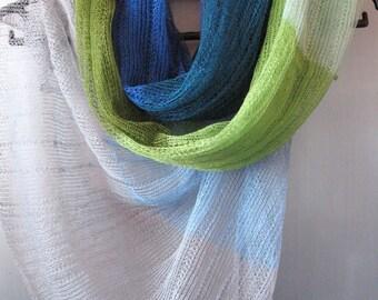Linen Scarf Shawl Wrap Stole Blue Azure Green Salad Multicolored