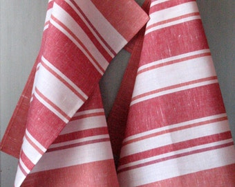Linen Cotton Dish Towels striped Red White Tea Towels