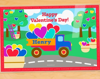 Personalized Valentine Placemat with a truck