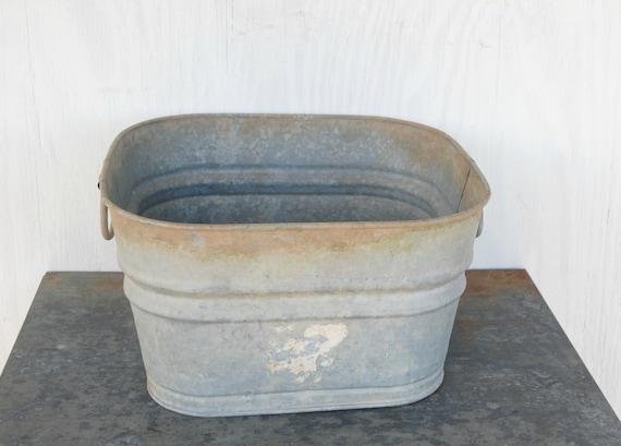 Vintage Galvanized Square Wash Tub Bucket