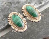 SALE...Was 27.75...Now 16.75...Southwest Malachite Sterling Silver Earrings  Lot 2824