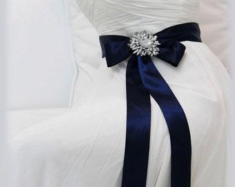 Navy Blue sash, bridal sash, bridesmaid sash, bridal belt, bridesmaid belt, crystal sash, ribbon sash, rhinestone belt, wedding accessory
