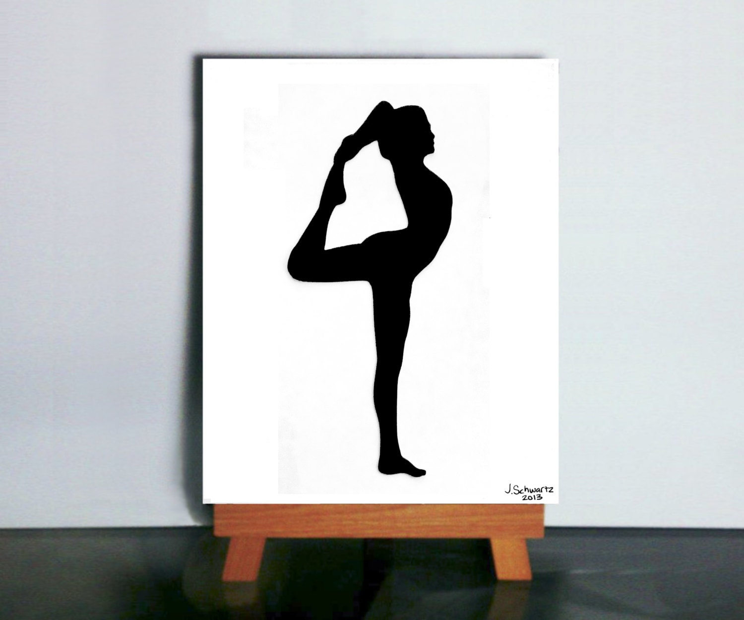 Dancer Pose Yoga Art Black Silhouette Papercut