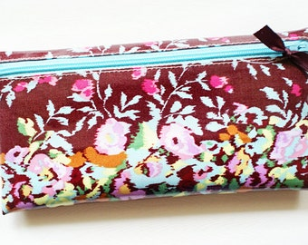 Cash budget envelope system wallet with 6 tabbed dividers // wine with multicolor pastel flowers, aqua zipper