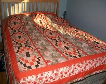Reversable handmade quilt 60x80 Orange Roses brown & white back 1 pc panel