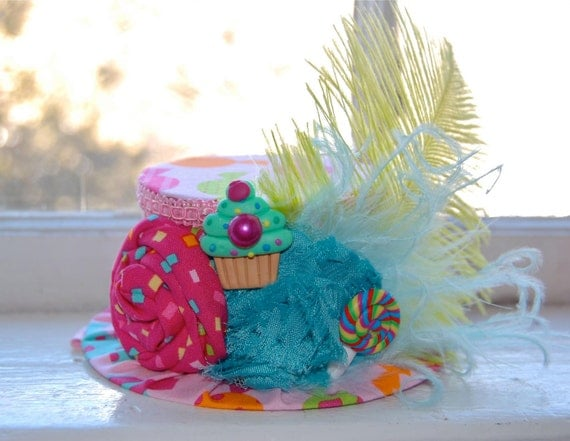 Birthday Hat Candy Shop Mini Top Hat by LittleLadyAccessory