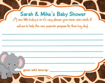 Jungle Baby Shower Advice Cards Print Your Own 4x6