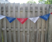 Patriotic bandana bunting.  Pennants.  Party Decoration.