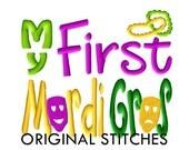My First Mardi Gras Machine Embroidery Digital Design File 4x4 5x7