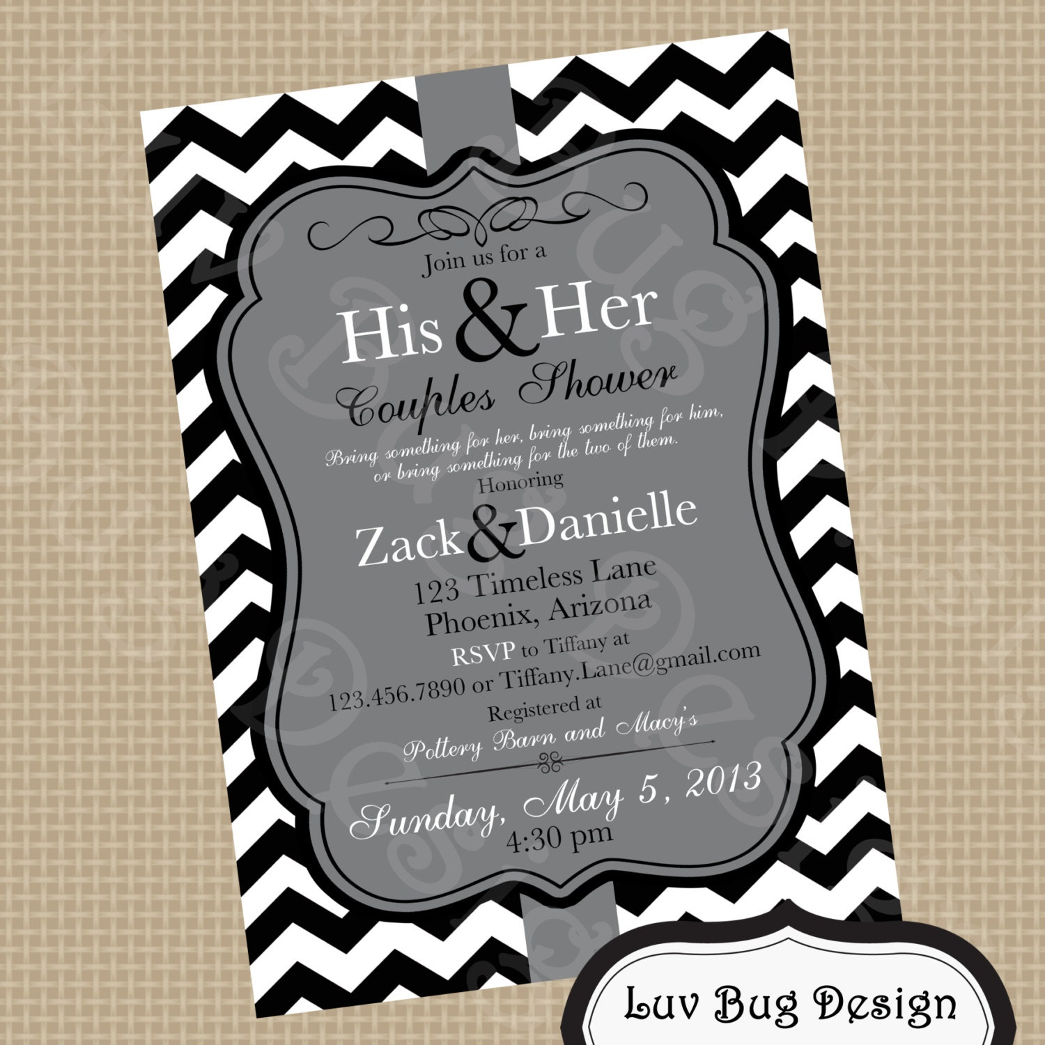 PRINTABLE Gray Themed Couples Shower Or Bridal By Luvbugdesign