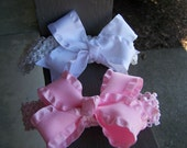Baby girl infant newborn toddler girl pink and white ruffle botique bow crochet headband botique bow headband photo prop