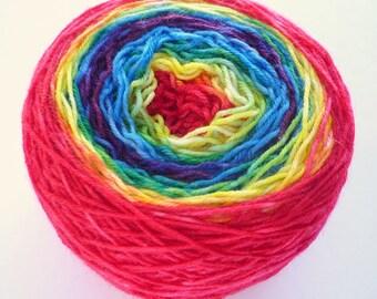 Gradient Sock Yarn - Superwash Merino / Nylon 4-ply Fingering Weight in Rainbow Colorway