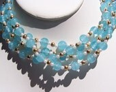 Murano style necklace blue glass beads white swirls gold and pearl spacers jewelry bargain