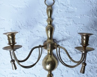 Solid Brass Double Candlestick Holder Vintage