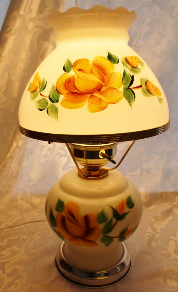 Vintage Milk Glass Yellow Roses Hurricane Lamp