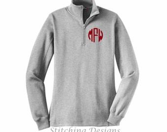 Monogram pullover, Ladies, 1/4 zip sweatshirt, monogrammed sweatshirt  - sizes XS to 4X - 9 Colors