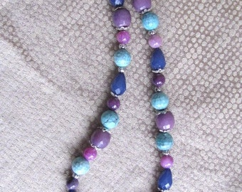 Shades of Purple and Turquoise Beaded Necklace