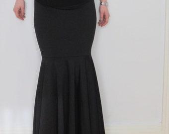 Women Maxi Skirt Black High waist Mermaid Fishtail Skirt Black Long Jersey Spandex Skirt Floor Length Maxi Skirt Custom Size (Made to Order)