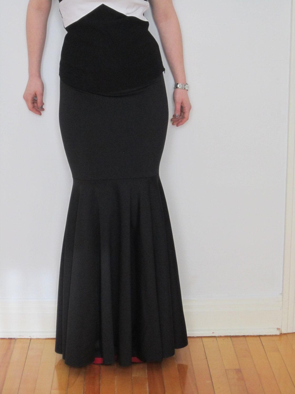 maxi skirt black high waist mermaid fishtail skirt black