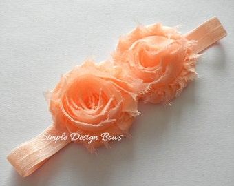 Peach Flower Headband - Photo Prop - FRAYED CHIFFON FLOWER - Baby to Adult