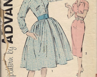 1960's Printed Sewing Pattern Advance 9367 Misses half-size dress size 14.5 bust 35