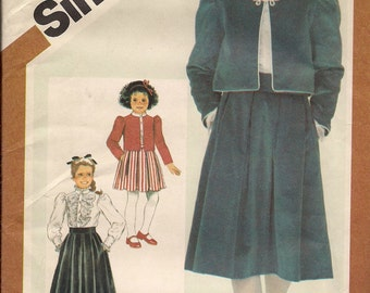 1983 Sewing Pattern Simplicity 6225 girls skirt, blouse, jacket size 8