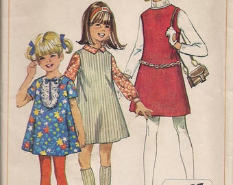 1968 Sewing Pattern Simplicity 7783 girls jiffy dress or jumper size 7