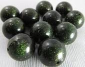 20 Vintage 12mm Dark Forest Green Glitter Beads Bd824