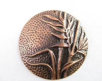 2 Vintage Bamboo Motif 41mm Antiqued Copper Pendants Pd383