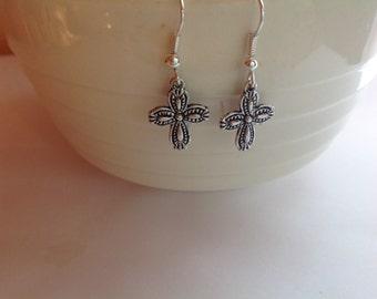 Antique Silver Small Cross Dangle Earrings