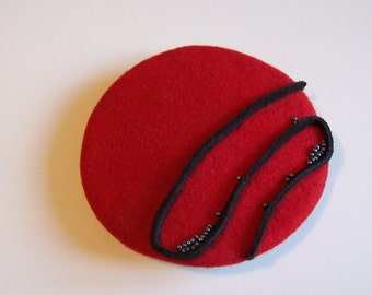 Red Fascniator with Black Suede and Beads
