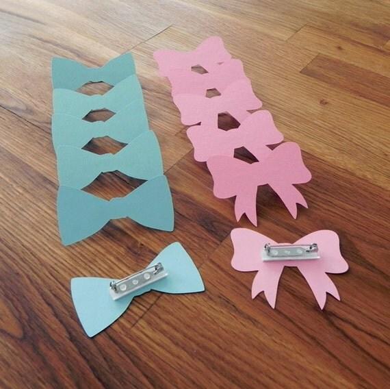 gender reveal baby shower die cut pink girl bows blue boy bow