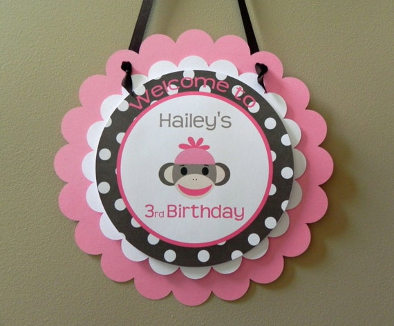 Door sign pink brown sock monkey girl birthday by babybinkz for Baby welcome decoration ideas