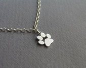 Paw Print Anklet - Sterling Silver Ankle Bracelet - Cat and Dog Paw - Paw Charm - animal Jewelry