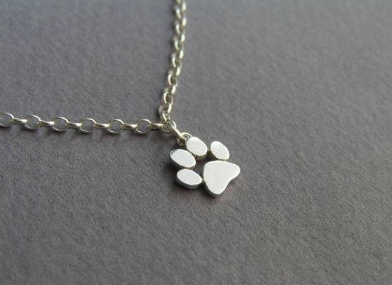 Paw Print Anklet Sterling Silver Ankle Bracelet Cat and