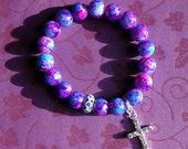 20% OFF Cotton Candy - Marbleized Glass Beaded Stretch Bracelet with Crystal Encrusted Cross Charm