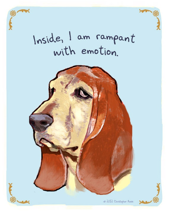 Basset Hound 5x7 Print of Original Painting with phrase